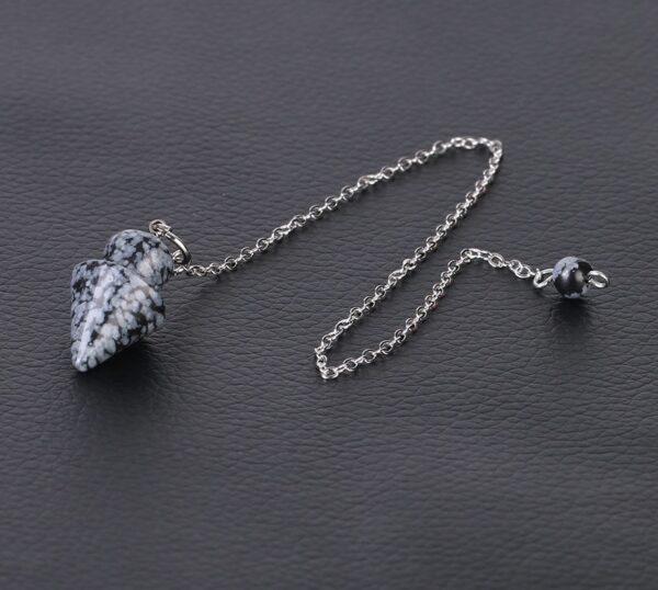 pendule divinatoire obsidienne flocon de neige