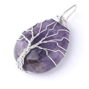 pendentif arbre de vie pierre améthyste