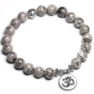 bracelet jaspe gris vertus